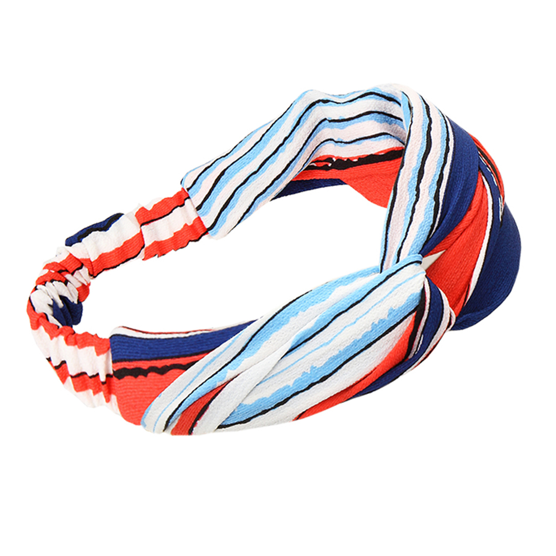 Retro Striped Twisted Headband in Multicolor