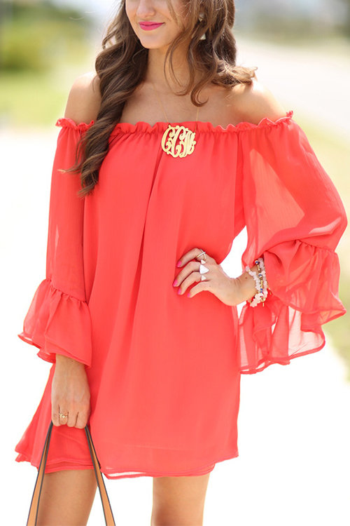 Bateau Flared Sleeves See Through Chiffon Mini Dress