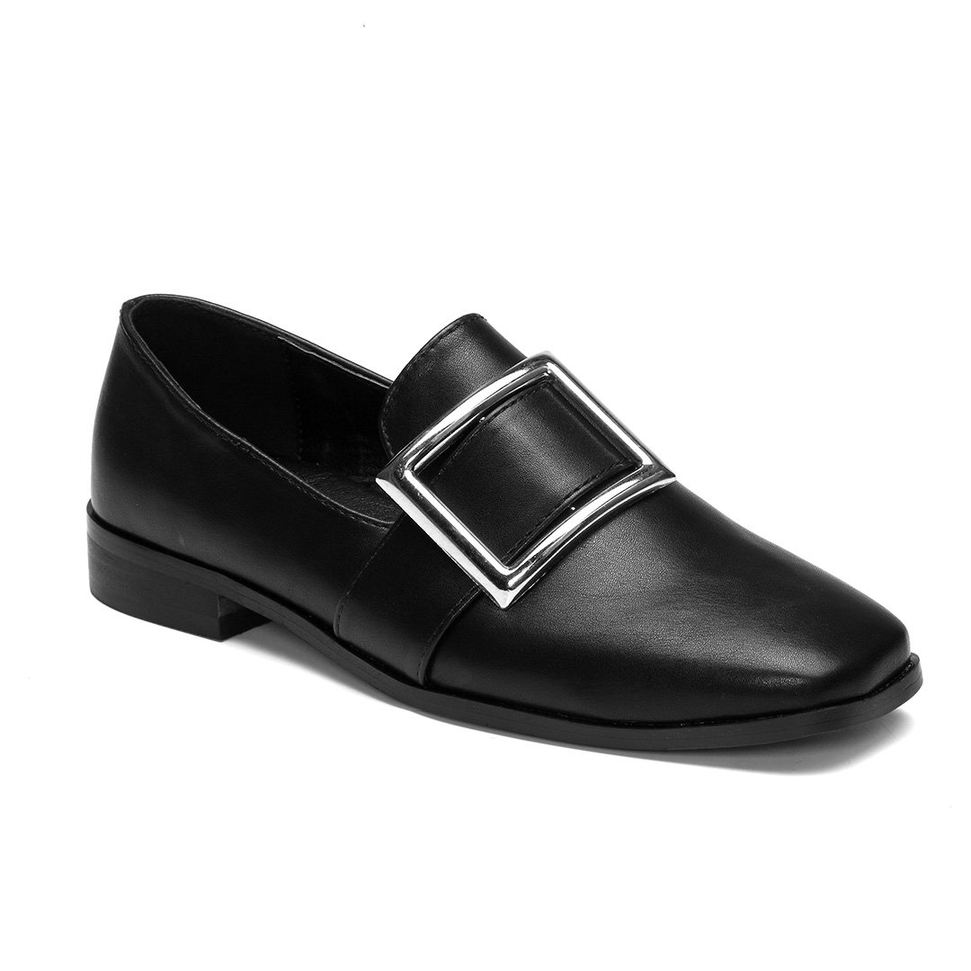 Black Flat Loafers with Square Buckle Design