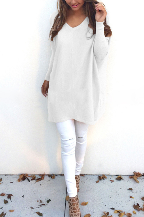 White V-neck Long Sleeves Mini Dress