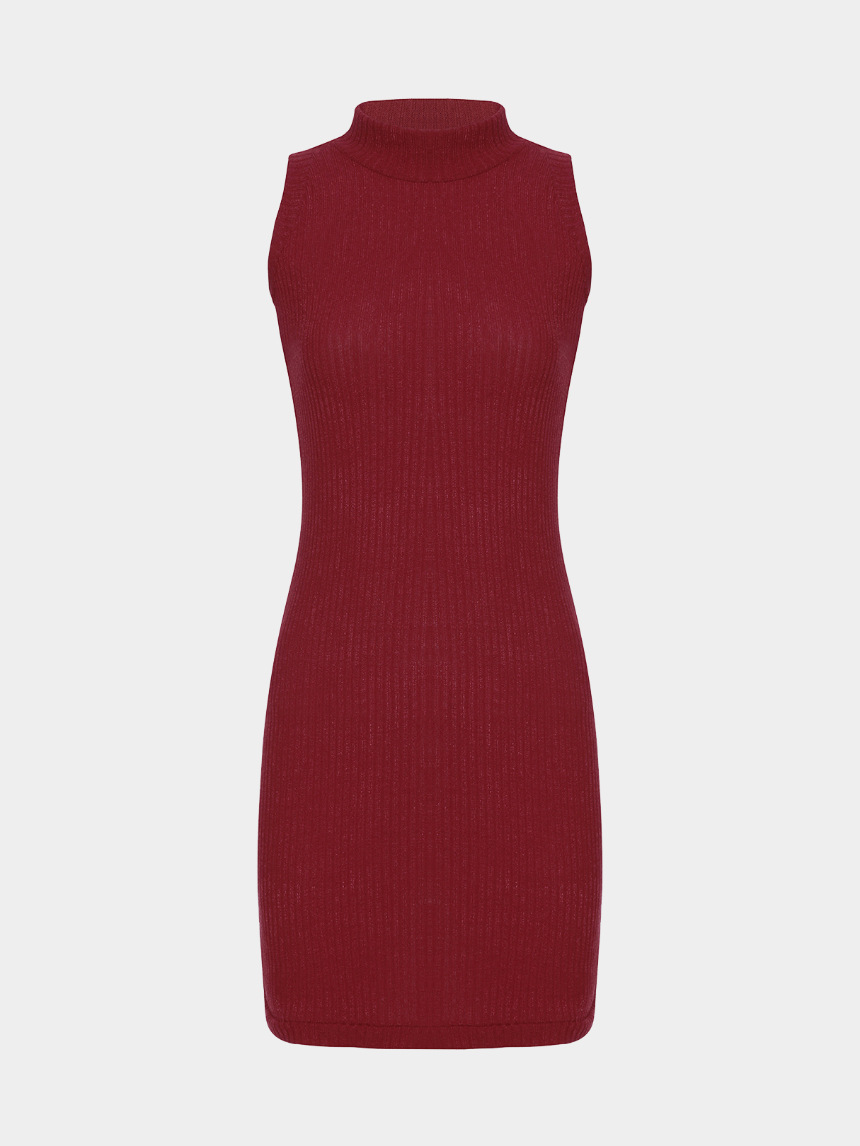 Burgundy Sleeveless Crew Neck Knitted Mini Dress