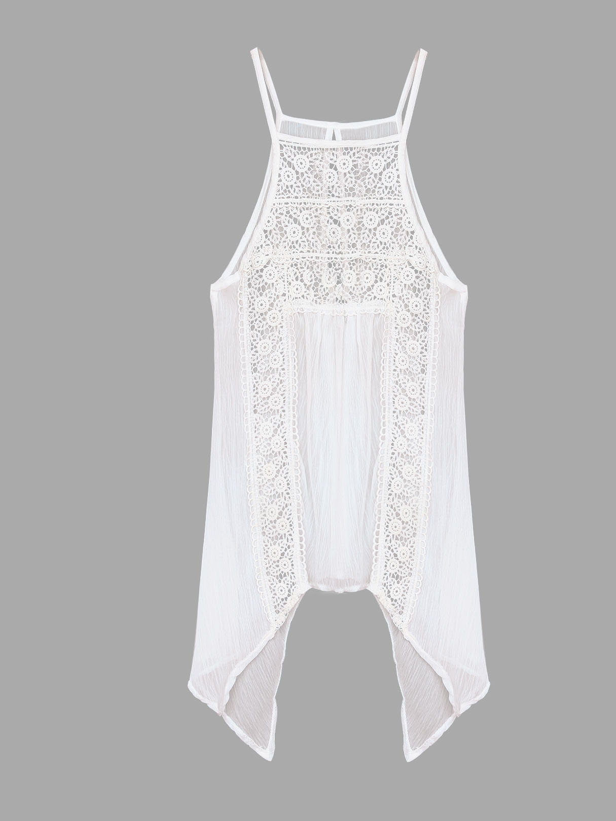 Sheer White Sexy Hollow Lace Cami