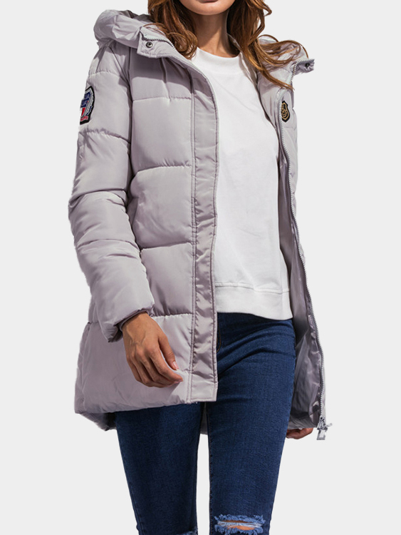 Fashion Grey Side Pockets Hoodie Quilted Outwear