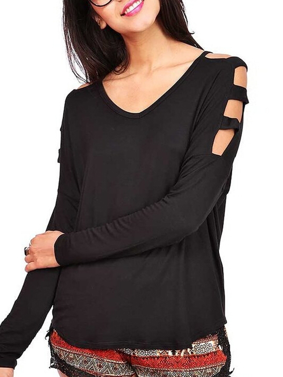 Black V-neck Long Sleeves Shirt with Cut Out Details