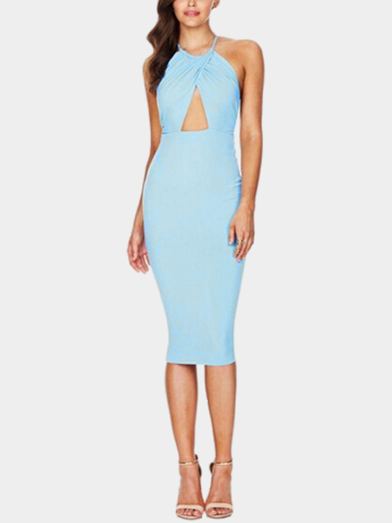 Sexy Sleeveless Halter Bodycon Midi Dress