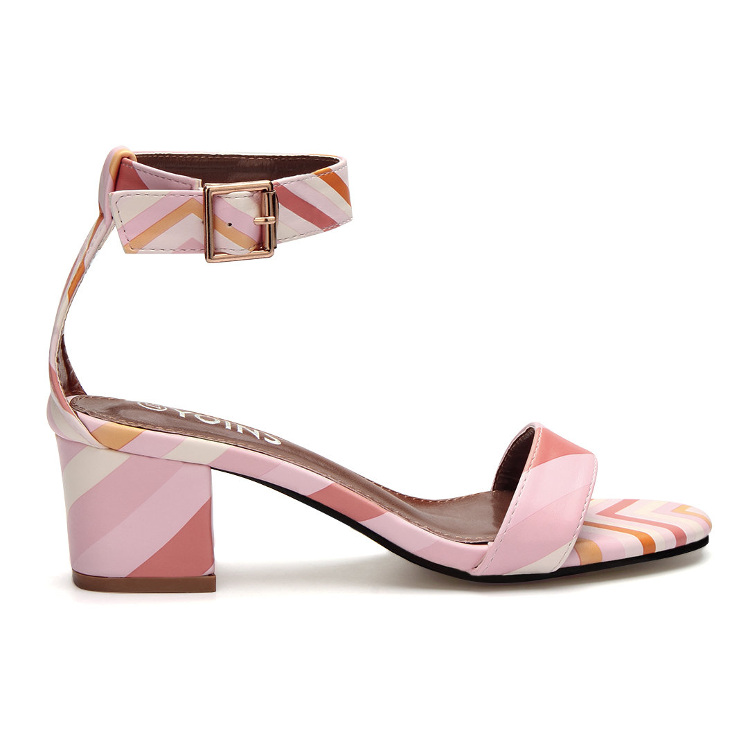 Pink Contrast Color Block Fashion Heel Sandals With Single Strap Front