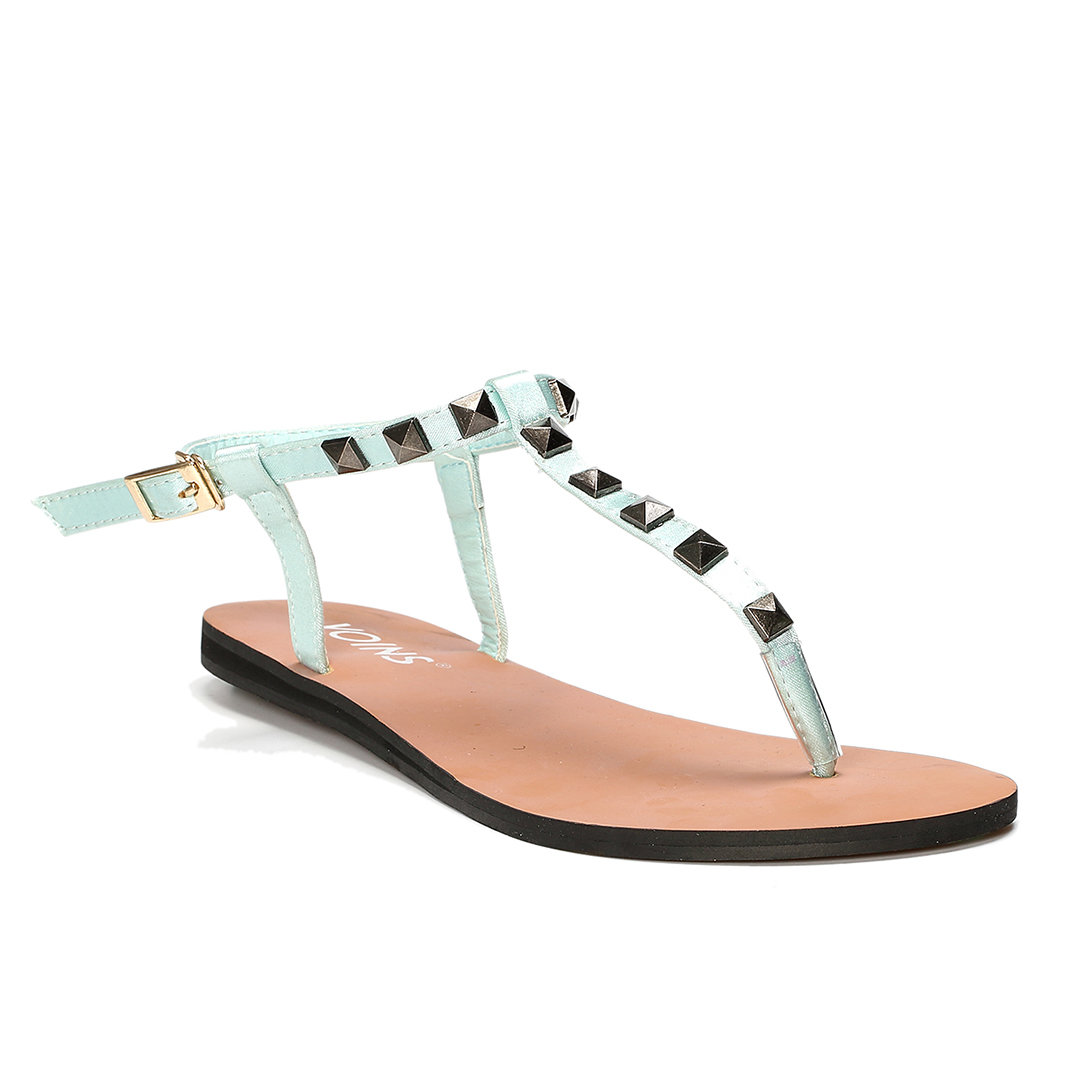 Light Green T-bar Design Studded Embellished Flat Sandals