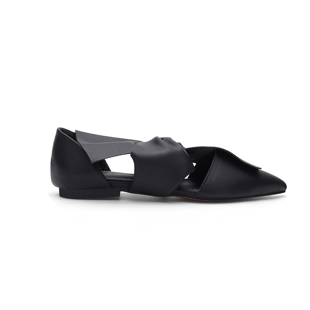 Black Leather Look Bowknot Pointed Toe Flat Shoes