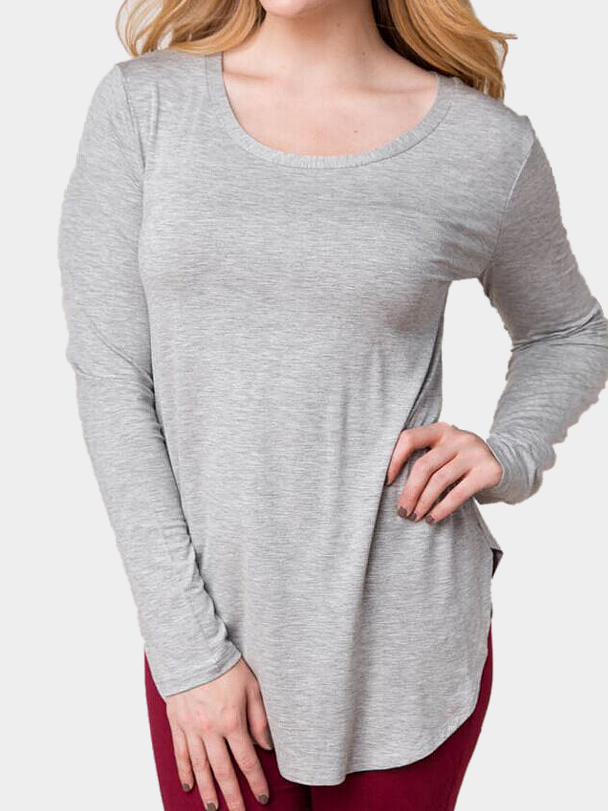 Light Grey Long Sleeves Top