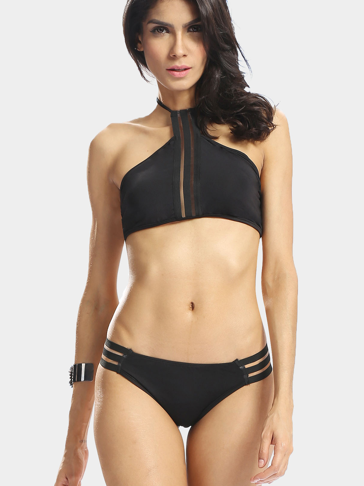 Black Self-tie Bikini Set with Cut out Details