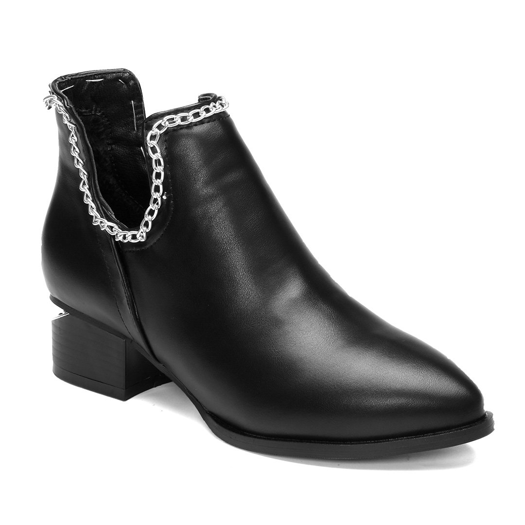 Black Leather Chain Embellished Short Boots