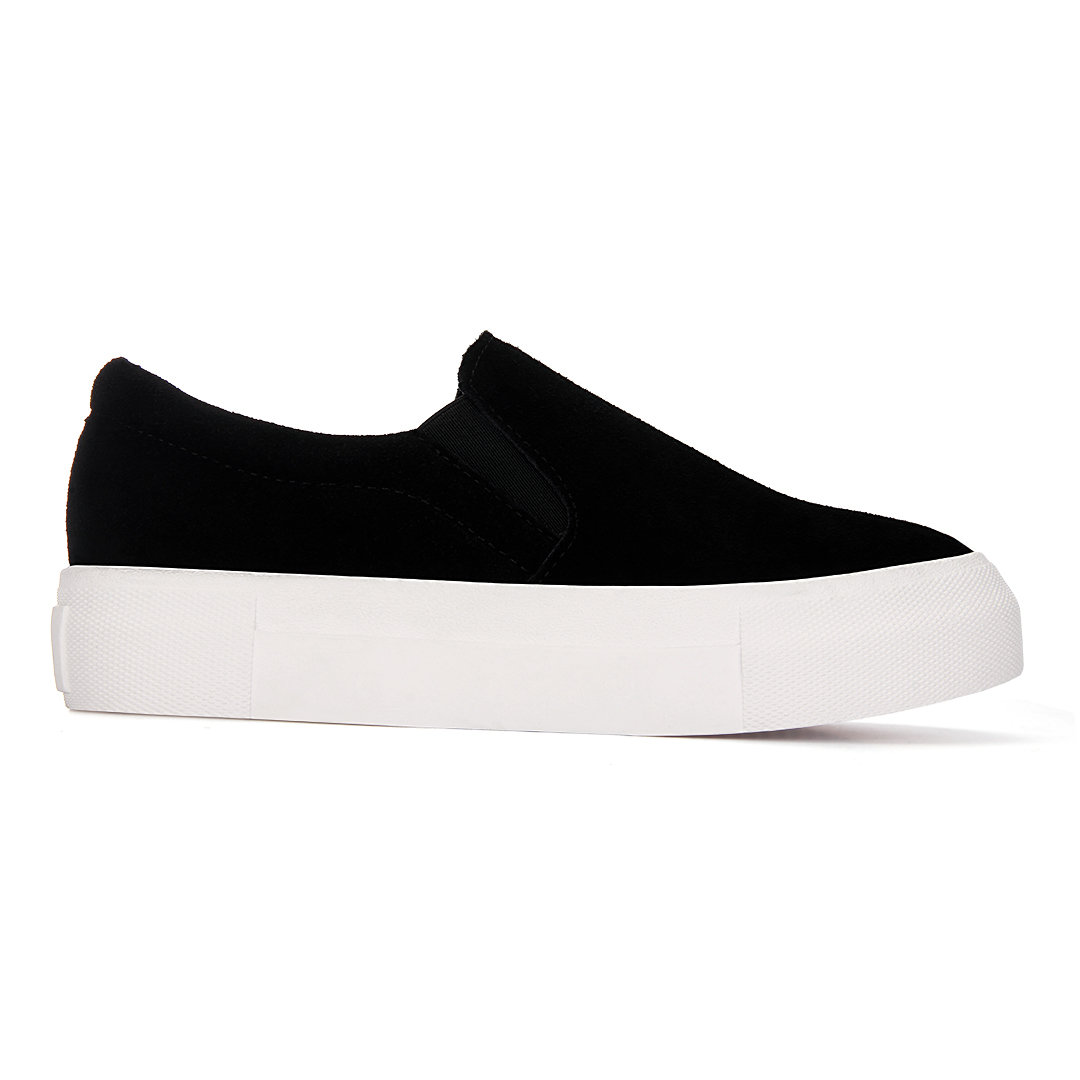 Black Casual Suede Round Toe Slip-on Loafers