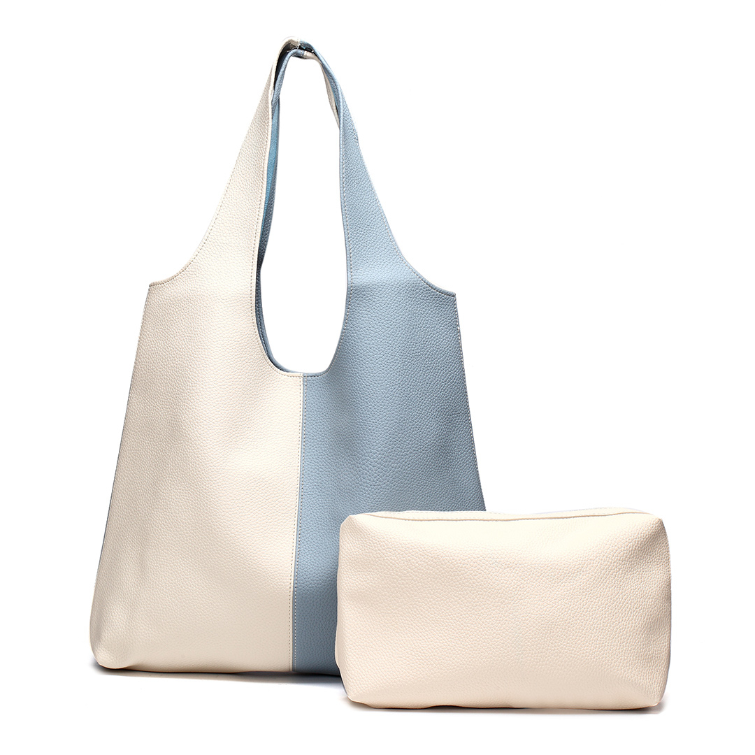 Blue & Apricot Simple Shoulder Bag with Small Bag