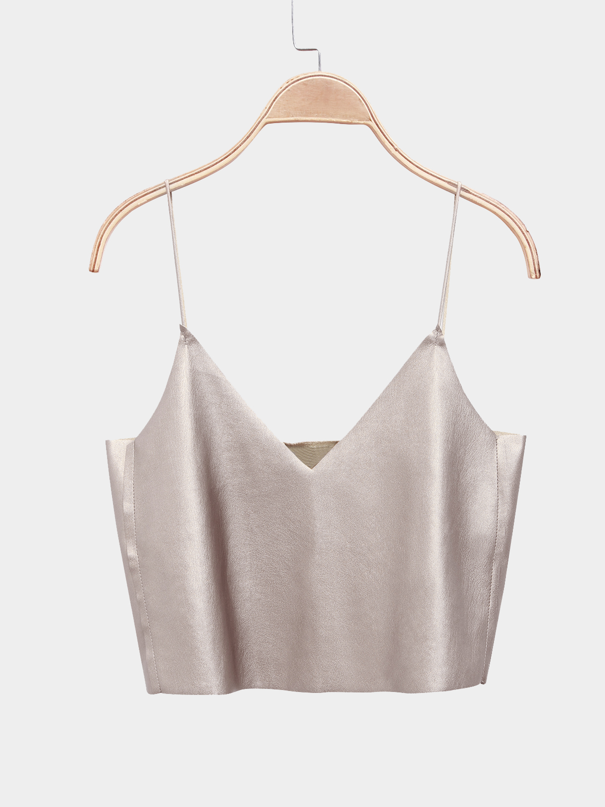 Leather Sexy V-neck Cami Crop Top