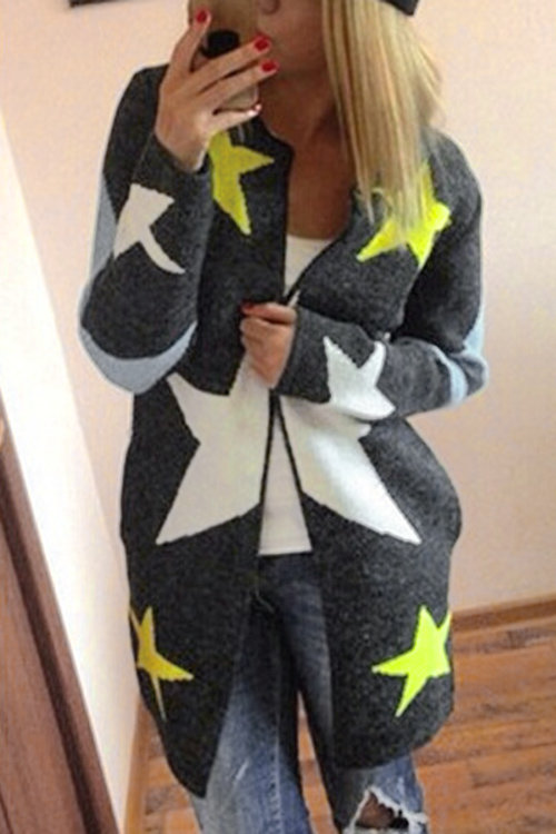 Fashion Round Neck Knit Pentacle Pattern Loose Long Outerwear