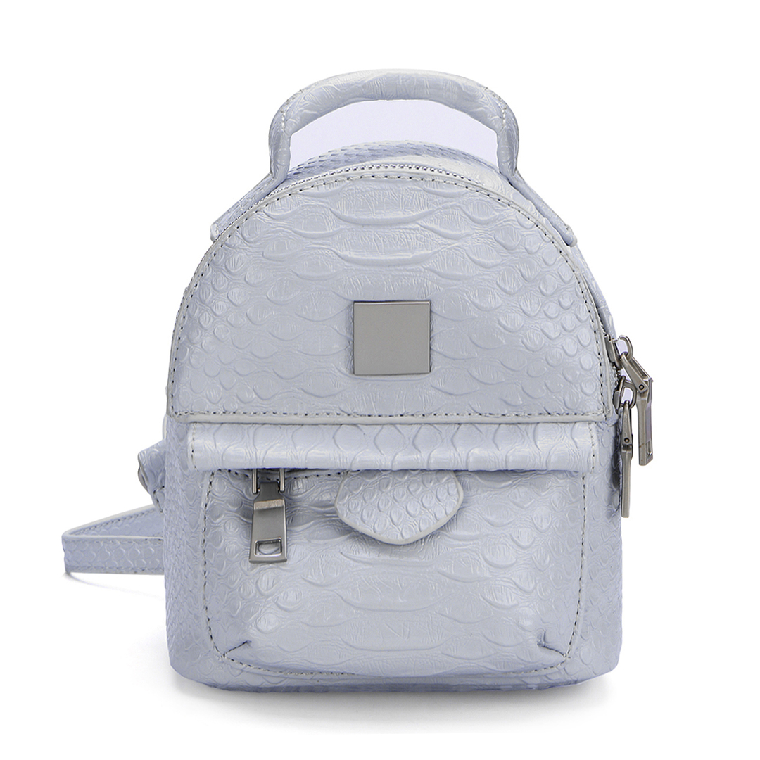 Snake Leather-look Mini Backpack in Grey