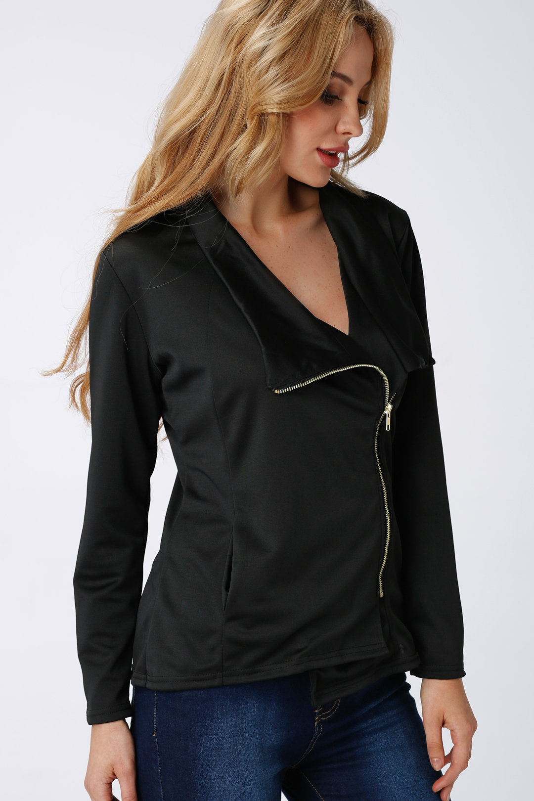 Black light-weight zipper biker jacket with side pockets...