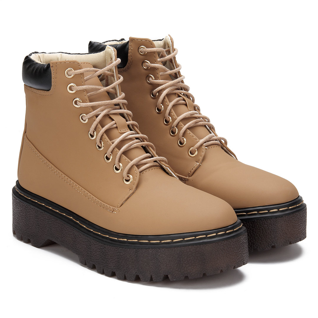 Brown Lace-up Design Gum Sole Short Boots