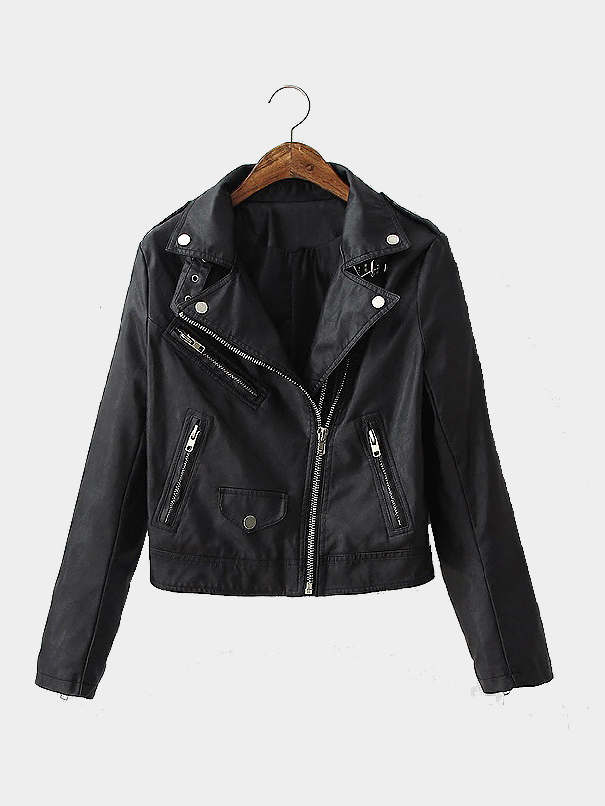 Leather Biker Jacket with Buckle Detail