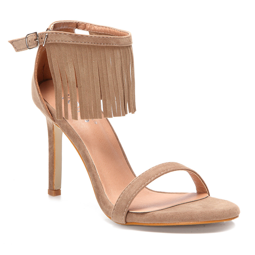 Apricot Tassel Embellished High Stiletto Heels