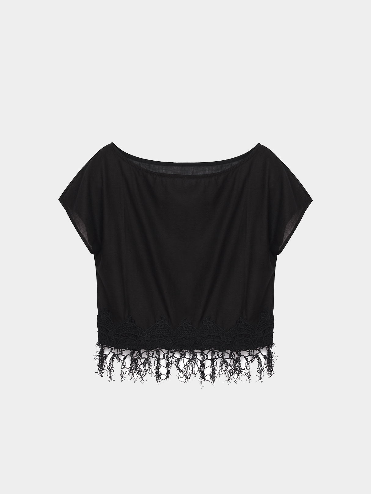 Black Sheer Round Neck Cropped T-shirt