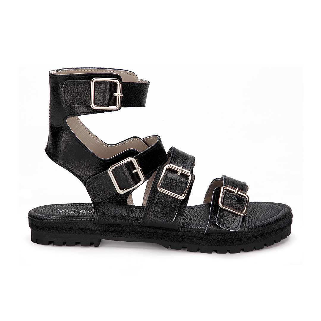 Black Pin Buckle Strap Over Open Toe Flat Sandals