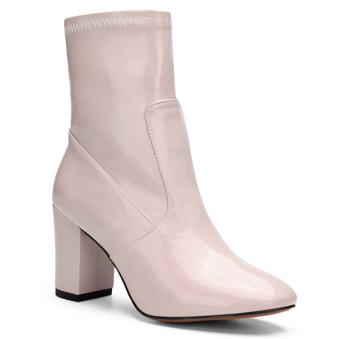 Pink Patent Leather Chunky Heels Short Boots with Zipper Design
