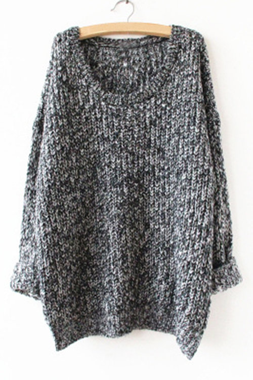 Contrast Casual Round Neck Knitted Jumper
