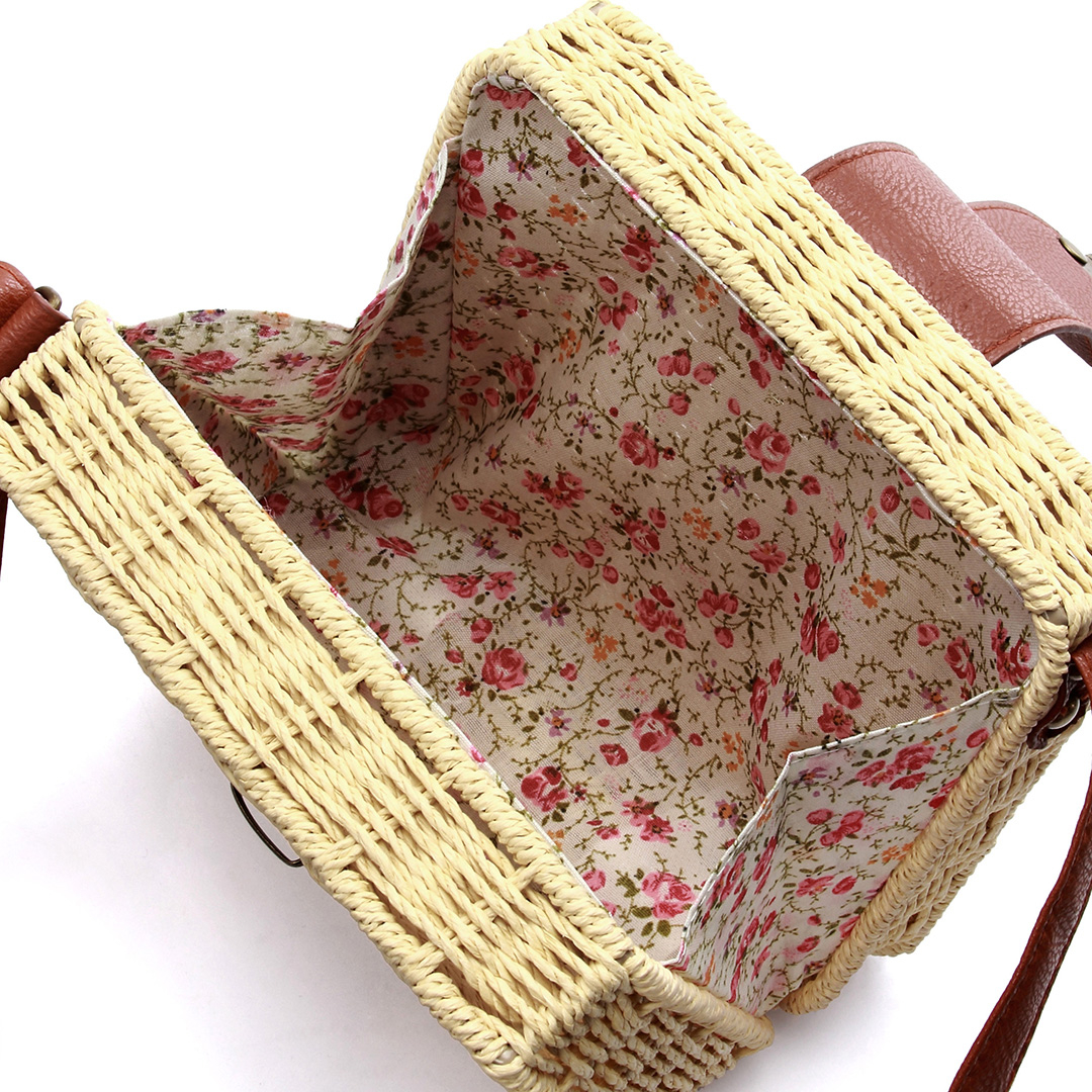 Straw-Woven Crossbody in Beige with Push-Lock от Yoins.com INT