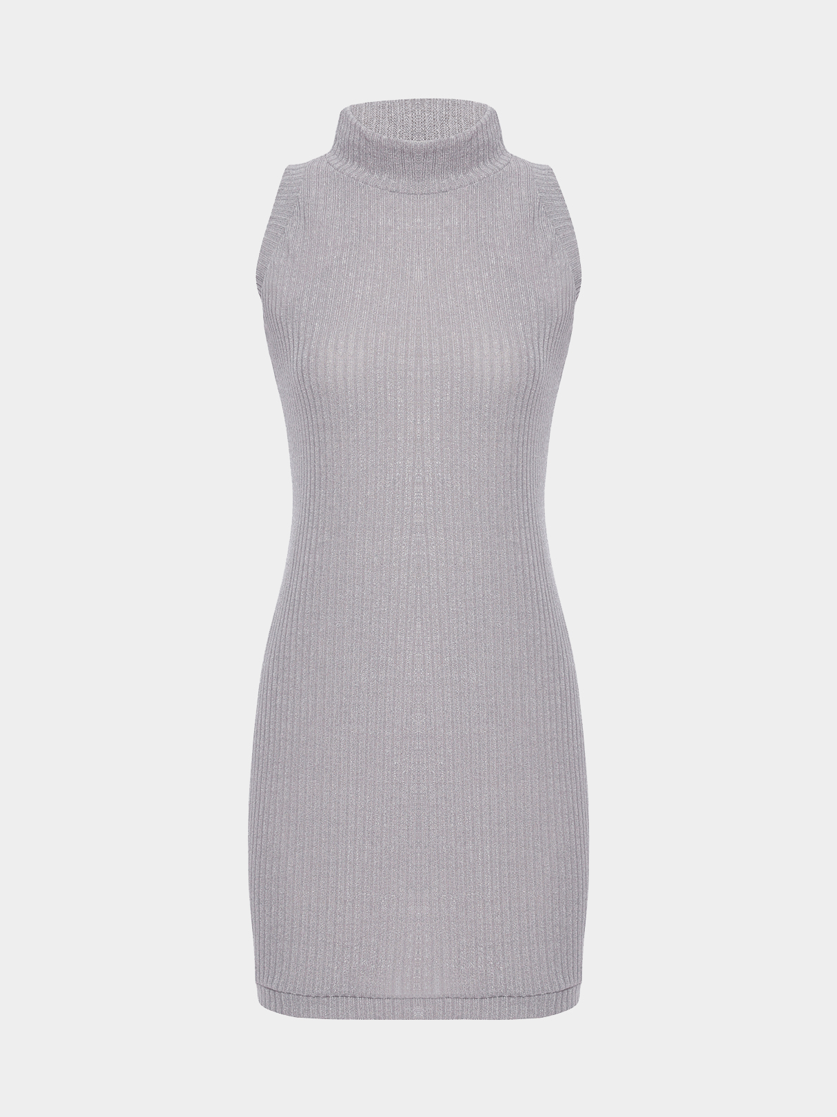 Grey Sleeveless Crew Neck Knitted Mini Dress