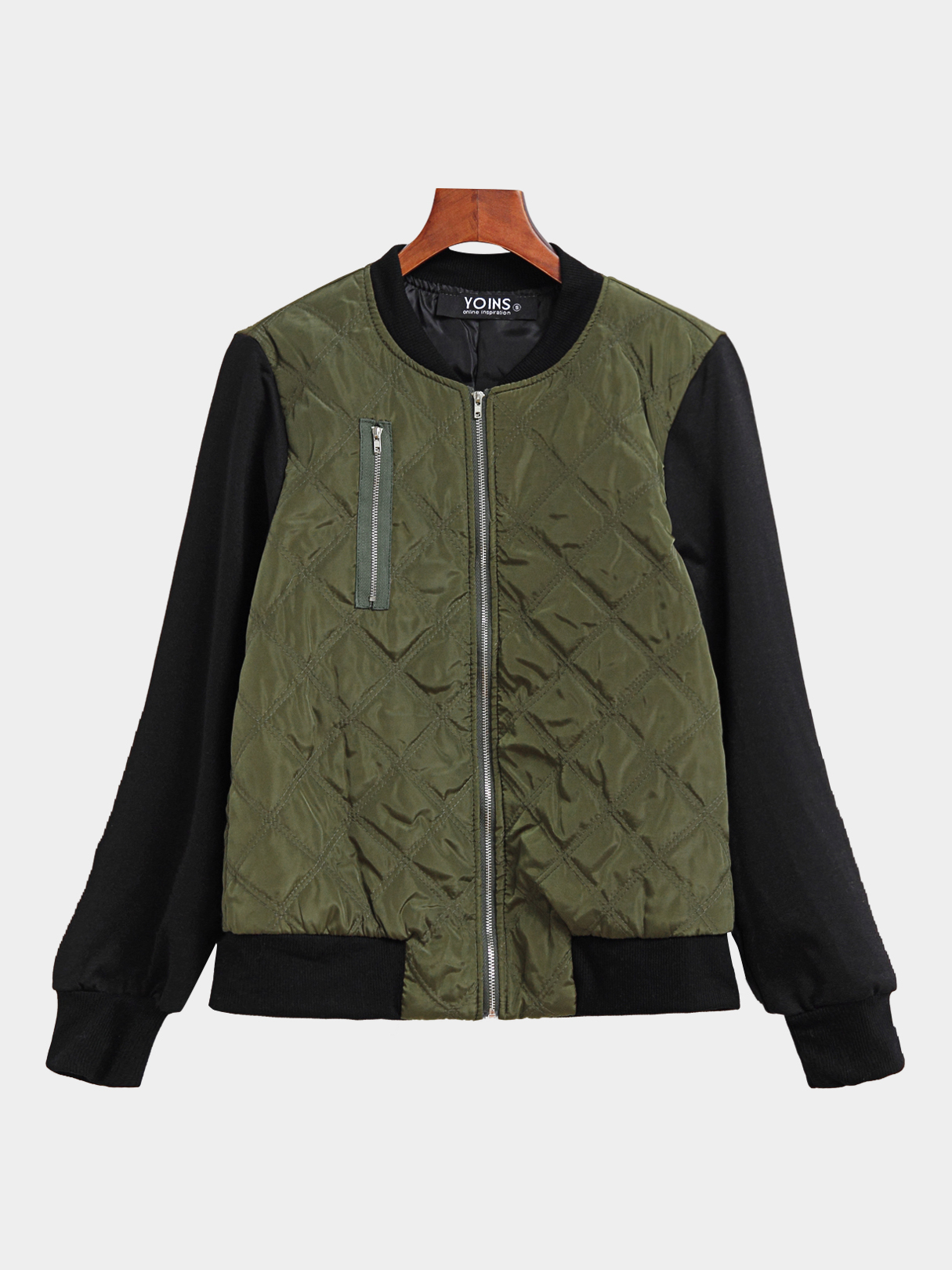 Green Zipper Embellished Causal Padded Outerwear