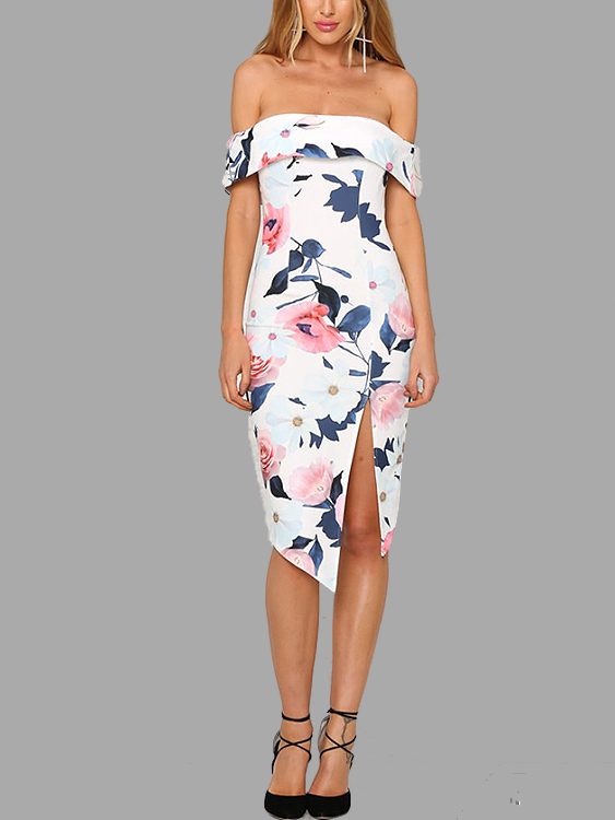 Off-shoulder Layered Split Midi Dress In Random Floral Pattern