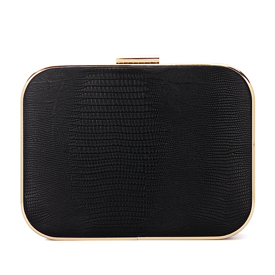 Lizard Effect Leather-look Occasion Box Clutch Bag