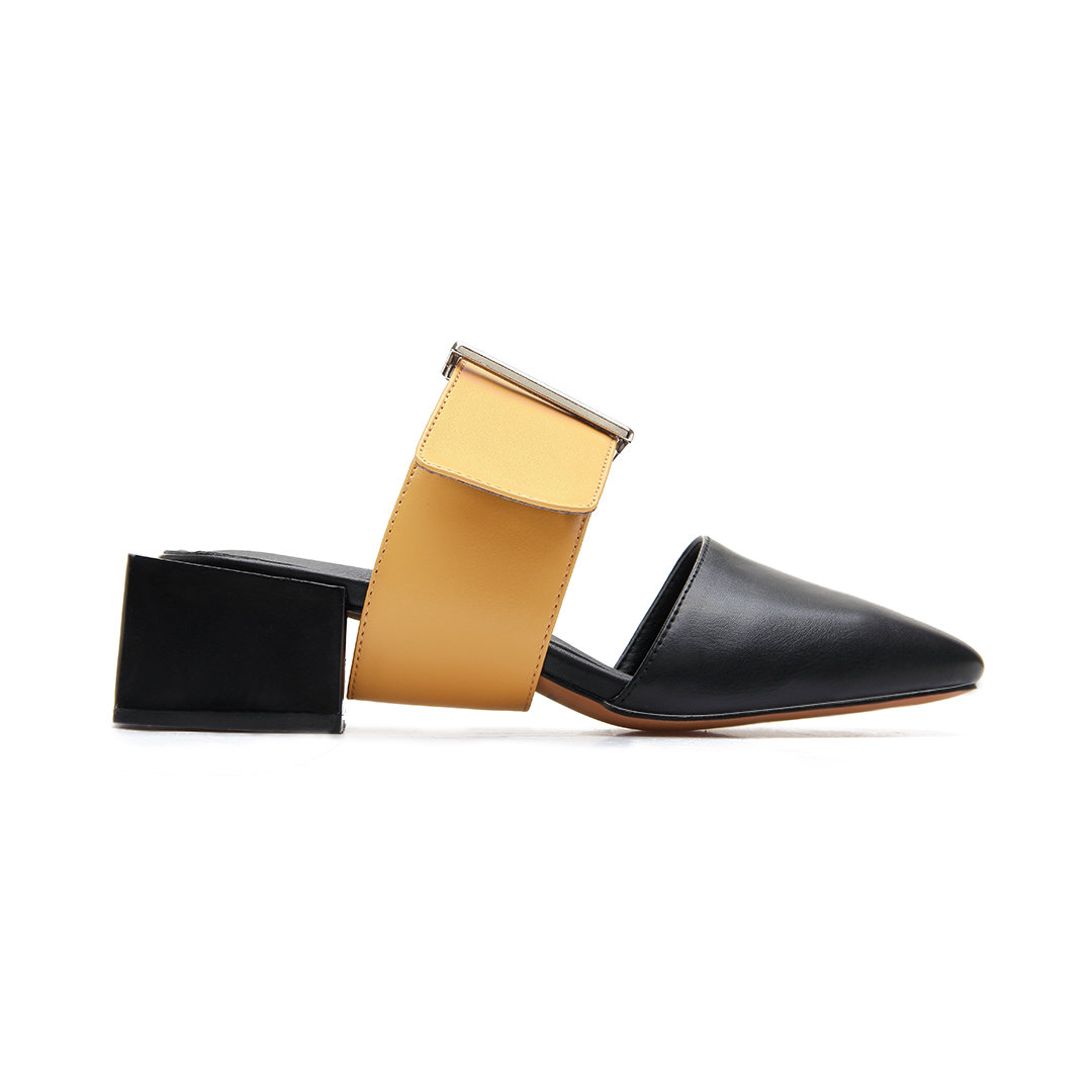 Black Casual Leather Look Square Heel Mules and Yellow Buckle
