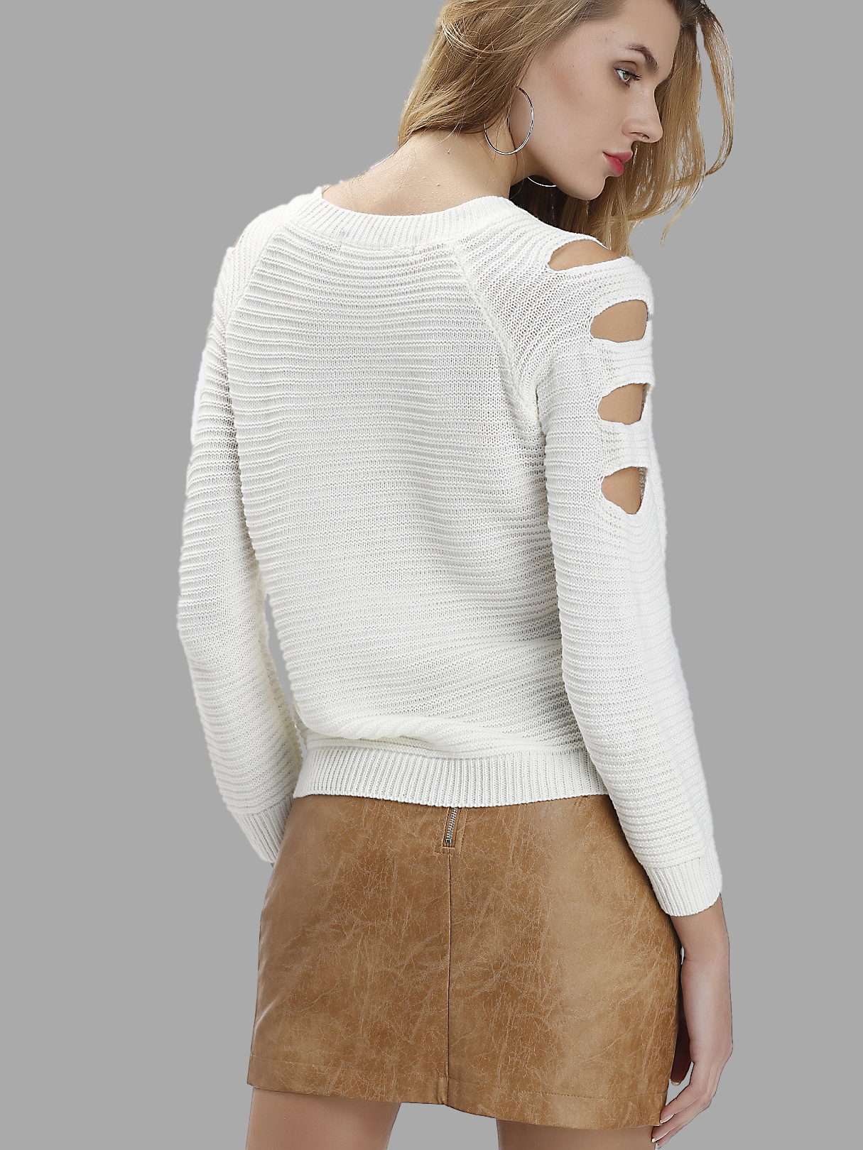 White Round Neck Hollow Out Sweater