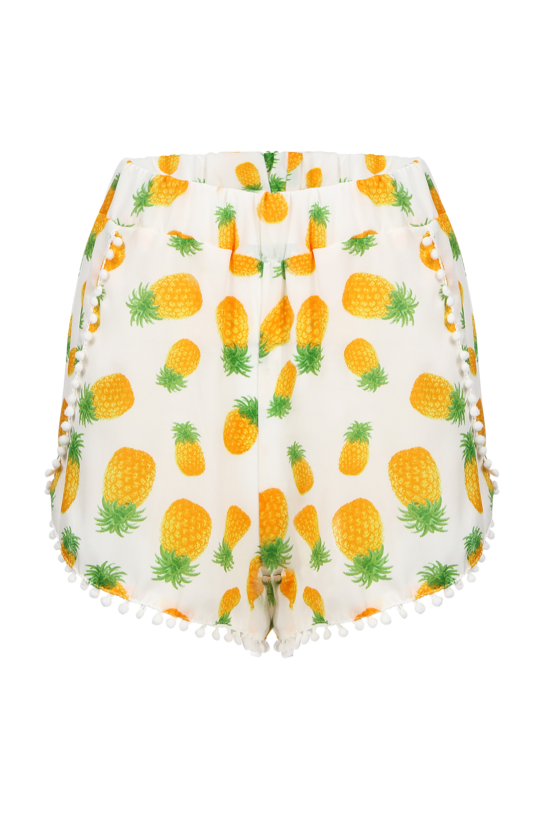 Semi-sheer Printing Pattern Shorts with Pom Pom Trim