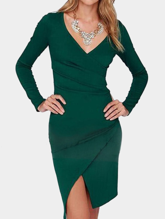 Green Crossed V-neck Long Sleeves Dress