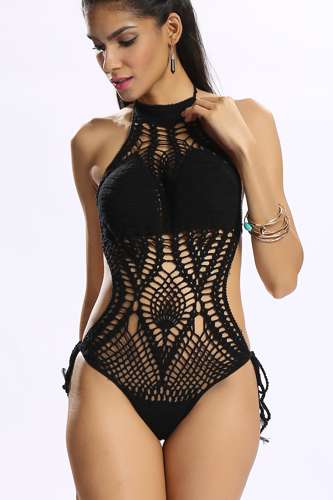 Black Halter Self-tie Crochet Monokini