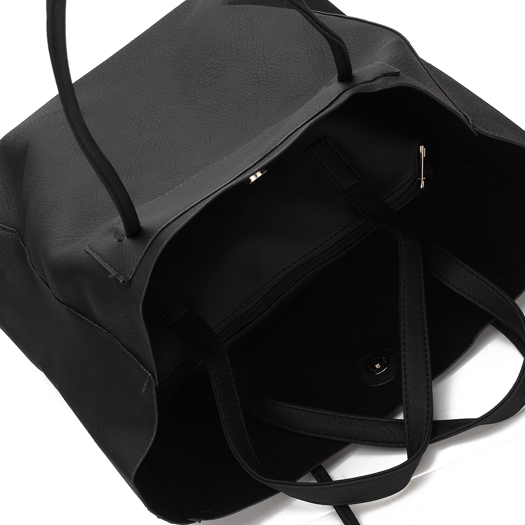 Black Leather-look Shoulder Bag with Removable Clutch от Yoins.com INT