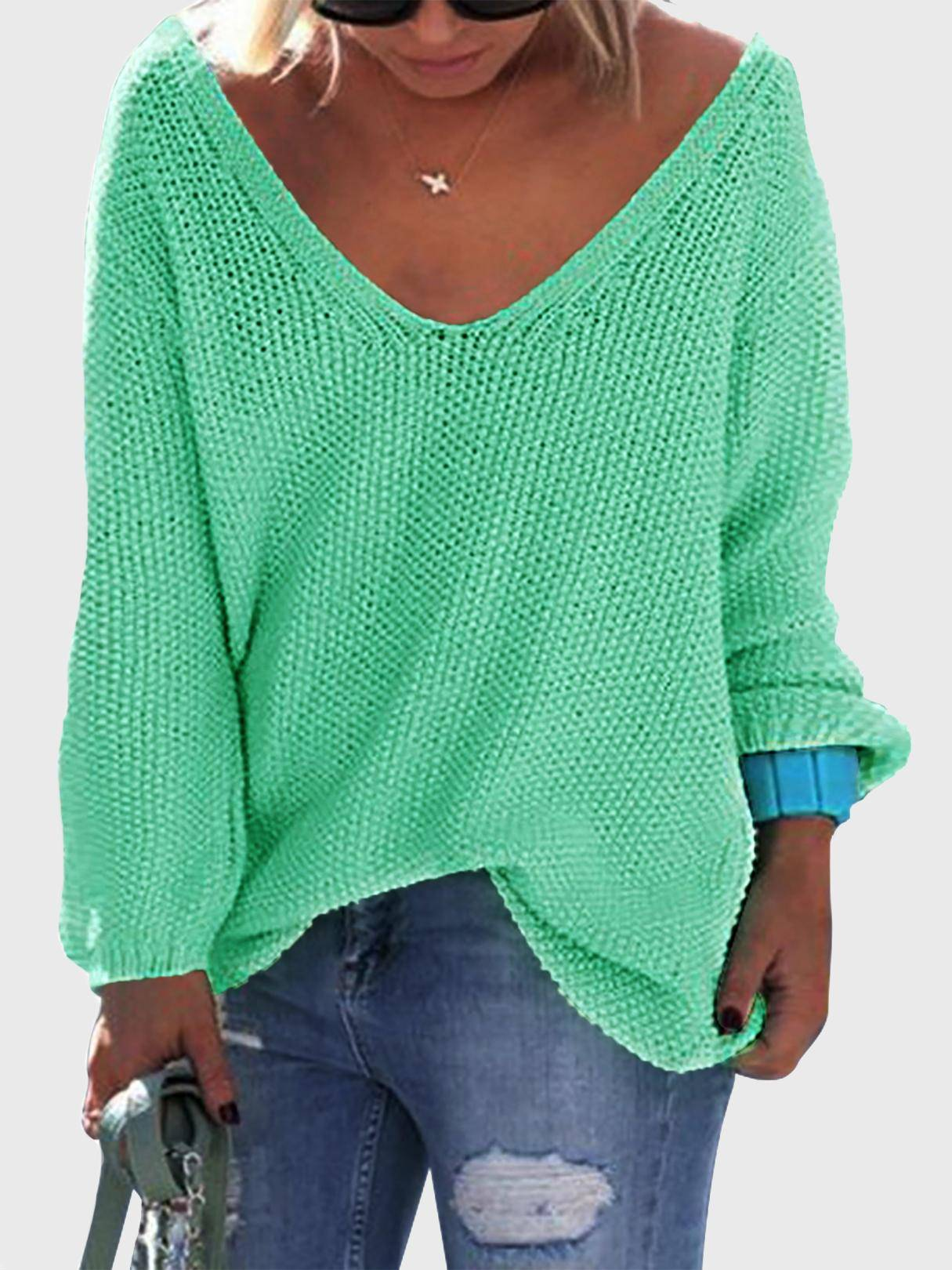 Classic Design Green Loose Plunge Sweater