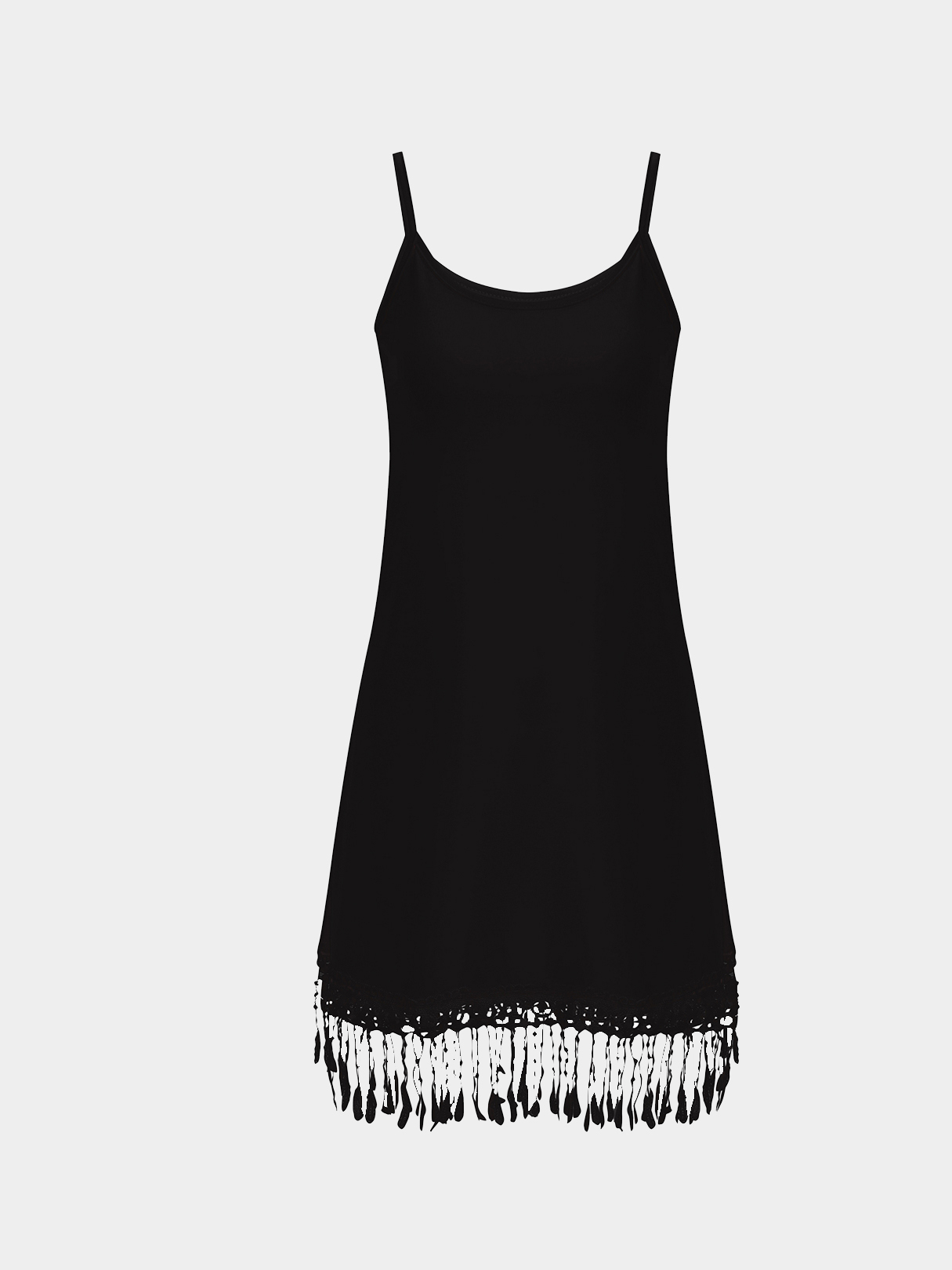 Black Cami Dress with Crochet Lace Details