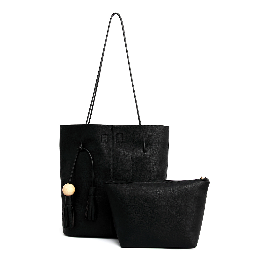 Black Leather-look Tassel Shopper Bag with Removable Clutch