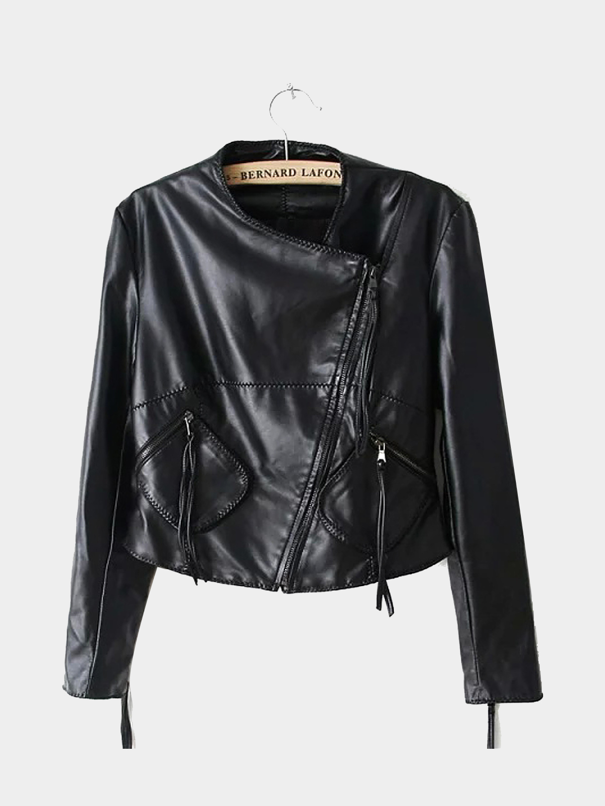 Leather Jacket with Zip Detail