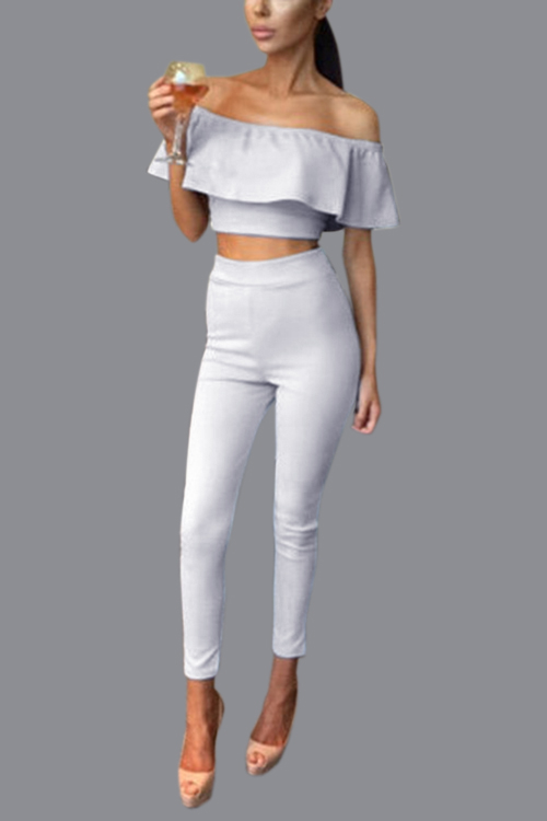 White Off Shoulder Flounced Design Bare-midriff Co-ords