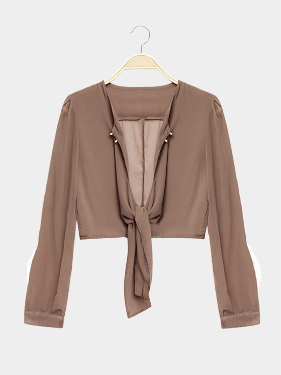 Khaki Long Sleeves Tie Front Sexy Crop