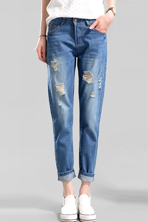 Blue Ripped Details Skinny Jeans