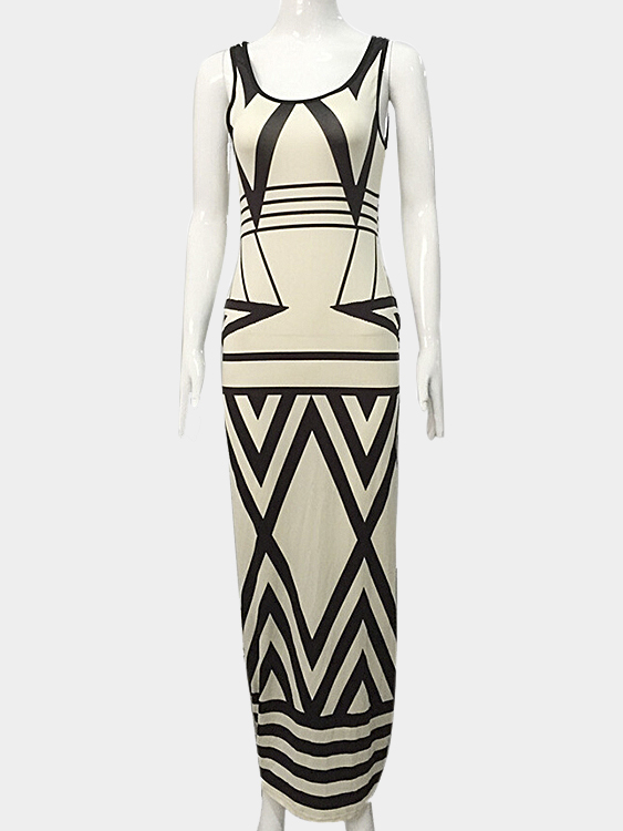 Geo Print Sleeveless Maxi Dress
