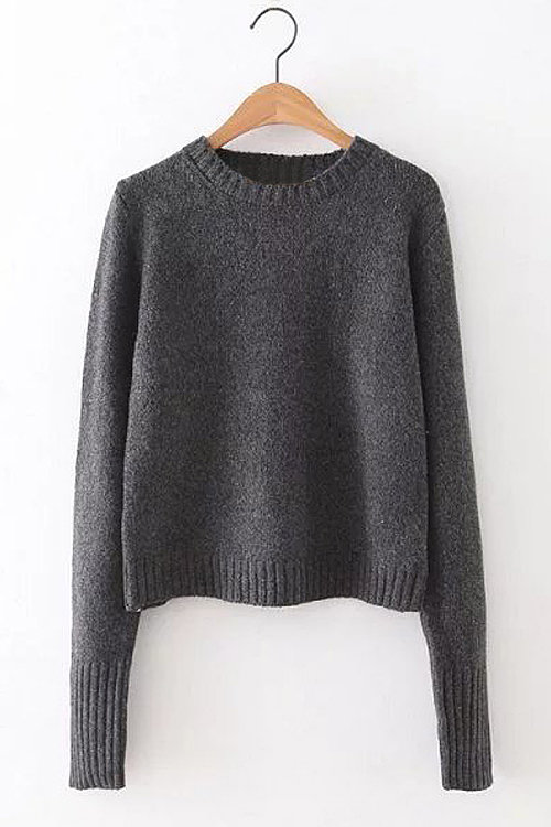 Grey Lace-up Back Pullover Long Sleeve Sweater