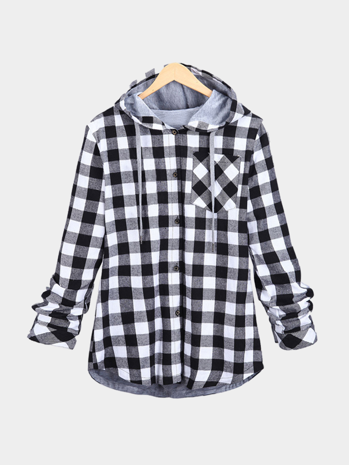 Grey Paid Pattern Single Buttons Hooded Coat
