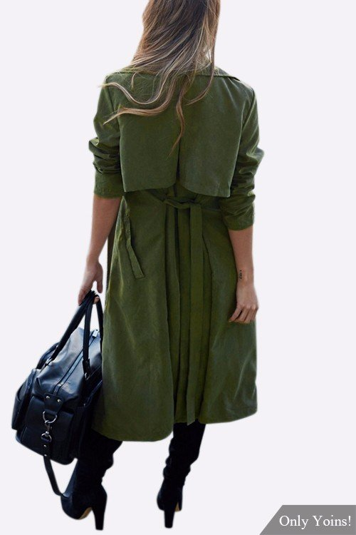 Army Green Lapel Collar Trench Coat With Self-tie Belt от Yoins.com INT
